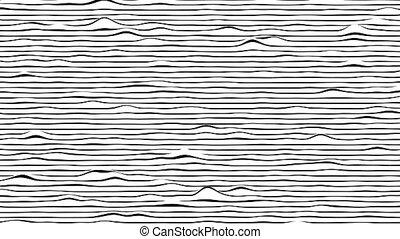 engendré, blanc, noir, horizontal, mouvement, boucle, lignes, informatique, animation., arrière-plan.