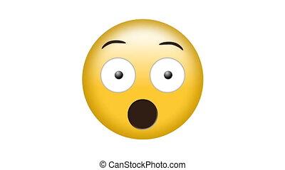 engendré, choqué, vidéo, numérique, emoji