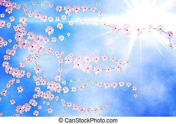 engendré, fleur, digitalement, fond