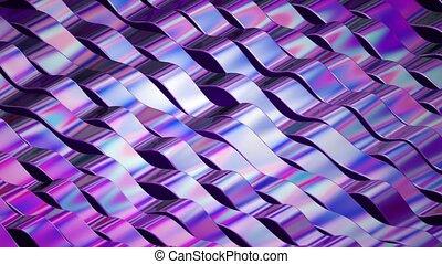 engendré, footage., holographic, art, coloré, résumé, motion., lignes, tordu, sombre, arrière-plan., fleuret, informatique, fond, numérique, rubans, animation.