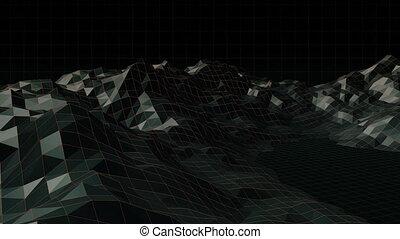 engendré, vidéo, montagne, digitalement