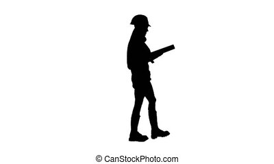 Engeneer girl in the helmet with construction tools on the waist goes . Silhouette. White background . Side view