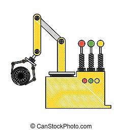 engenharia, automóvel, desenho, braço robô, car, cor, roda