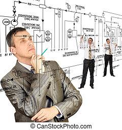 engenharia, automação, desenhando
