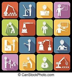 engenharia, branca, ícones