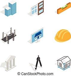 engenharia, construção, ícones