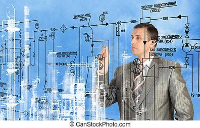 engenharia, construção, desenhando