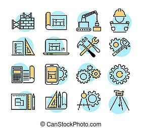 engenharia, e, fabricando, vetorial, ícone, jogo, em, linha magra, estilo