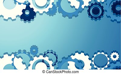 engenharia, engrenagens, papel parede, em, azul