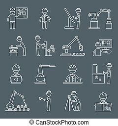 engenharia, esboço, ícones