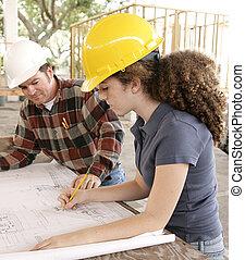 engenharia, estudante, marcação, desenhos técnicos