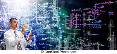 engenharia, fabricando, tecnologia