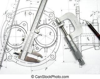 engenharia, ferramentas, ligado, desenho técnico