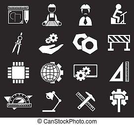 engenharia, jogo, ícones