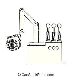 engenharia, mão, automóvel, desenho, braço robô, roda carro