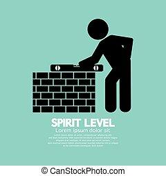 engenharia, nível, espírito, measuring.