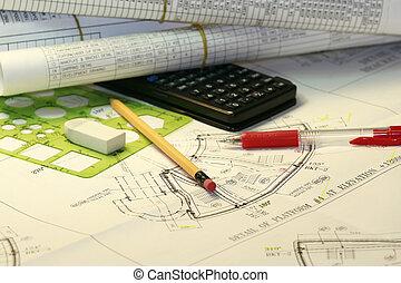 engenharia, planos
