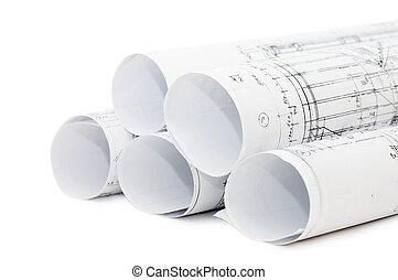 engenharia, rolos, desenhos