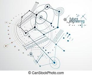 engenharia, tecnologia, papel parede, hexágonos, feito, círculos, lines., desenho, experiência., abstratos, vetorial, técnico