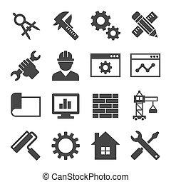 engenharia, vetorial, set., ícone