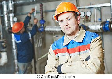 engenheiro aquecimento, repairman, em, quarto caldeira