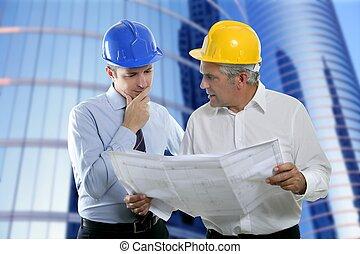 engenheiro, arquiteta, dois, perícia, equipe, plano, hardhat