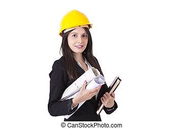 engenheiro, com, construção, planos