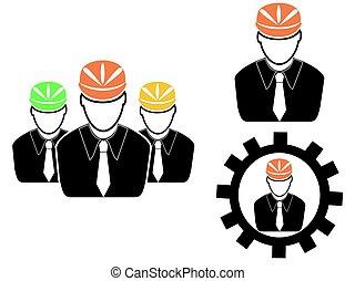 engenheiro, conjunto cabeça, ícones