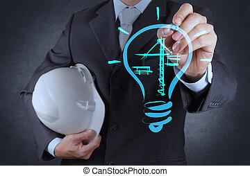 engenheiro, desenho, lightbulb, e, construção