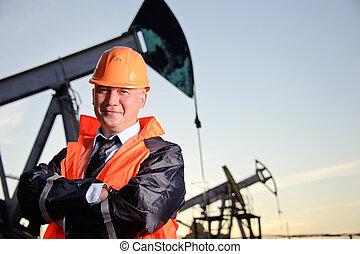engenheiro, em, um, campo óleo