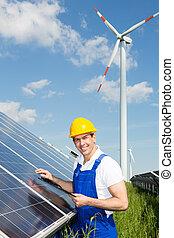 engenheiro, energia, parque, solar, painéis, inspeciona