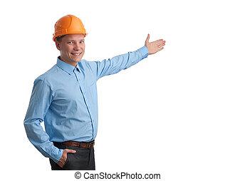 engenheiro, isolado, branco