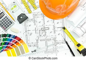 engenheiro, local trabalho, com, capacete, blueprint, e, medir ferramentas
