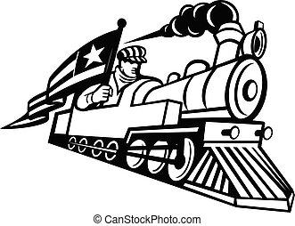 engenheiro, locomotiva, americano, pretas, branca, mascote, vapor, dirigindo, trem