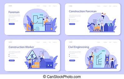 engenheiro, página web, ou, principal, guiando, set., bandeira, aterragem, capataz