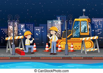 engenheiro, reparar, a, estrada
