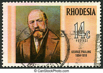 engenheiro, rhodesia, (1854-1919), selo, série, 1974, -,...