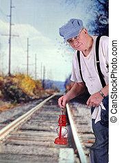 engenheiro, sinalizar, trem, vinda