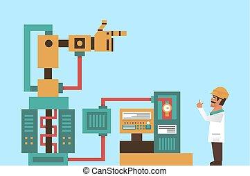 engenheiro, tecnologia informação, work., sistema, process., robô, ilustração, robotic, producao, braço, vetorial, computador, eletrônica, tentacles., graphics., professor, avançado, fios