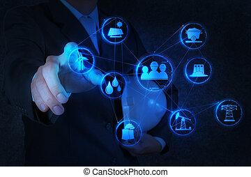 engenheiro, trabalhos, indústria, diagrama, ligado, virtual,...