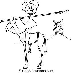 engenhoso, senhor, cavalo, de, dom, la, quijote, -, cavalheiro, cervantes, ilustração, escrito, miguel, vetorial, cavaleiro, mancha, quixote, caricatura, personagem