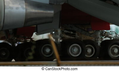 Engine and gear of airplane close-up