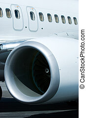 Engine and windows of airplane
