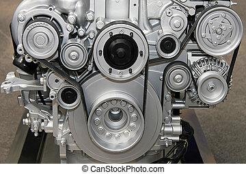 Engine belt system - Close up shot of engine with belts