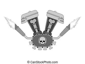 Engine bike Skull. Biker club sign. Motor motorcycle isolated. Vector illustration.