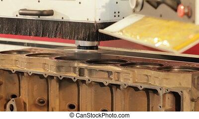 engine block repair process. internal combustion engine...