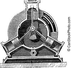 Engine brotherhood, vintage engraving.