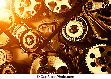 Car engine closeup, focus on pulley