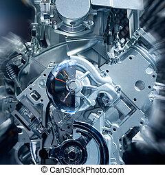 Engine - Car engine closeup, focus on pulley
