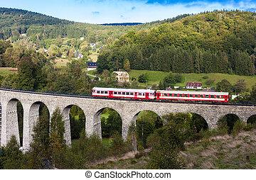 engine carriage on viaduct Novina, Krystofovo Valley, Czech Republic